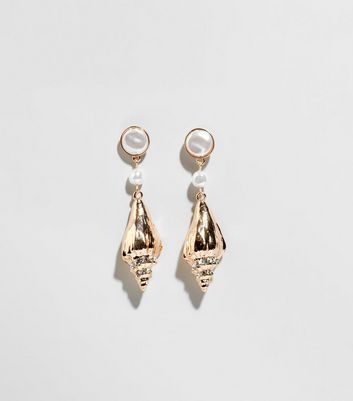 Gold Shell and Faux Pearl Earrings