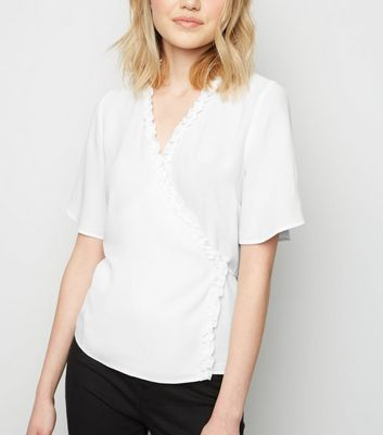 Off White Frill Wrap Top