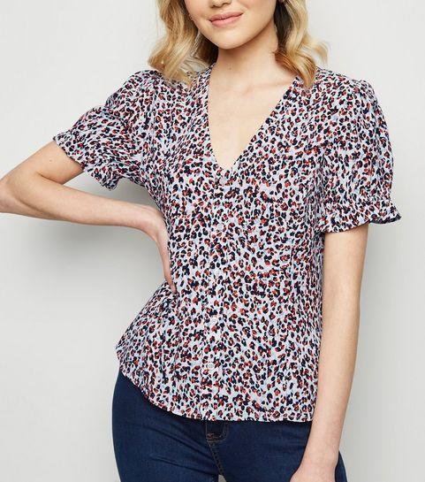 ... White Leopard Print Frill Trim Short Sleeve Shirt ... 217e8853ef6