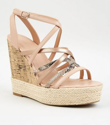 Nude Faux Snake Strap Espadrille