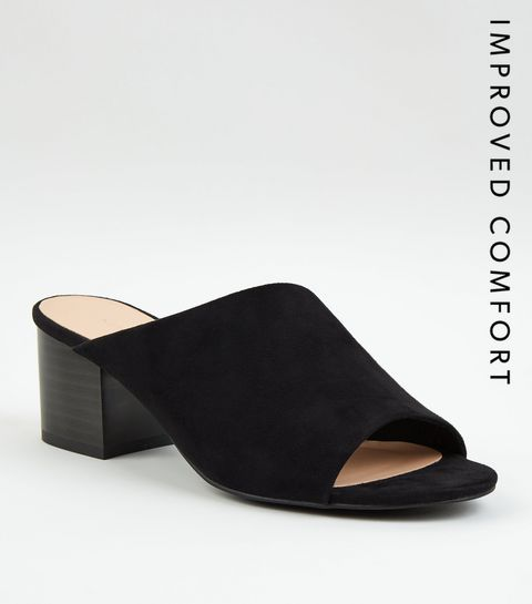 c9a68b262aa Black Suedette Asymmetric Strap Mules · Black Suedette Asymmetric Strap  Mules ...