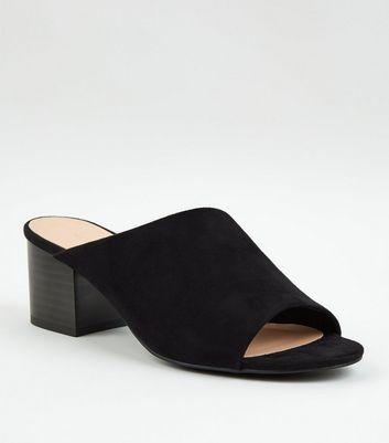 6dd7da9f3dde Black Suedette Asymmetric Strap Mules