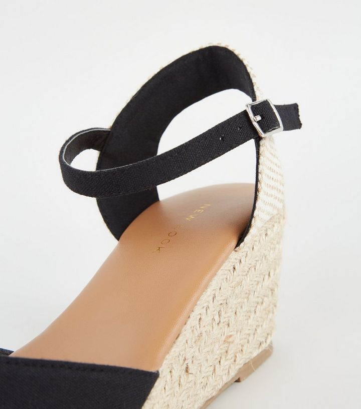6793204d86e Black Suedette Peep Toe Espadrille Wedges Add to Saved Items Remove from  Saved Items