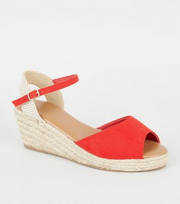 Red Suedette Peep Toe Espadrille Wedges