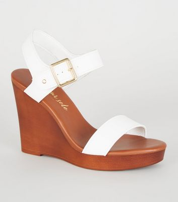 White Leather-Look 2 Part Wood Wedges