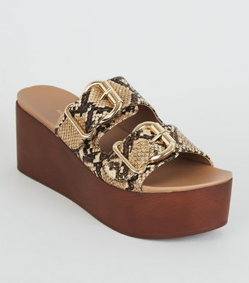 Tan Faux Snake Wood Flatform Sliders