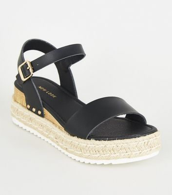 Black Stud Trim Espadrille Flatform Sandals