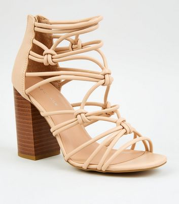 Cream Leather-Look Strappy Knot Heels
