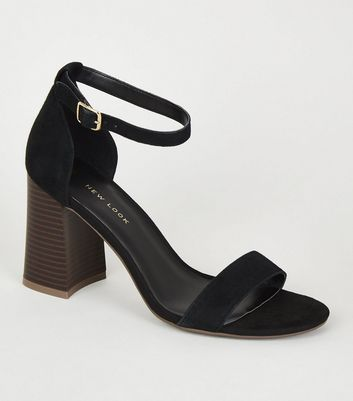 Black Suede Flare Block Heel Sandals