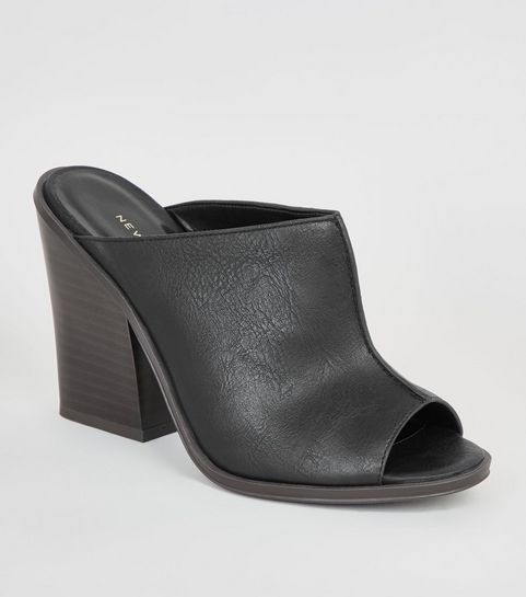 69aaa5e4978f0 ... Black Leather-Look Seam Front Mules ...