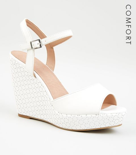 8ceaca29bc564 ... White Comfort Leather-Look Laser Cut Wedges ...
