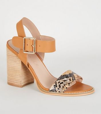 Tan Faux Snake 2 Part Block Heel Sandals
