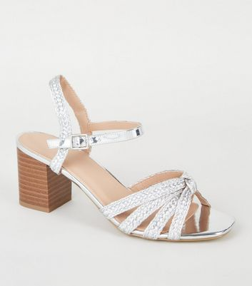 Silver Plaited Strap Block Heel Sandals