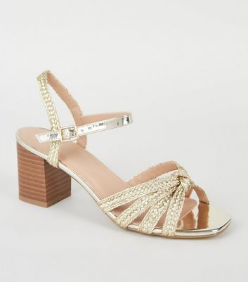 Gold Plaited Strap Block Heel Sandals