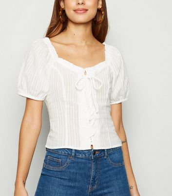 Off White Stripe Lace Up Milkmaid Blouse