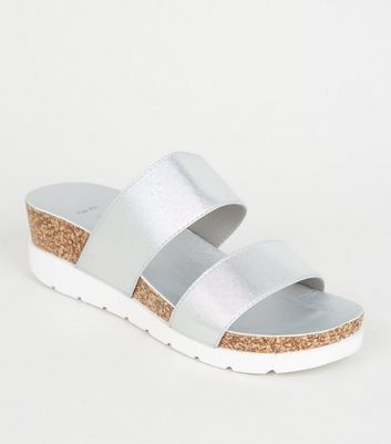 Wide Fit Silver Cork Platform Sliders