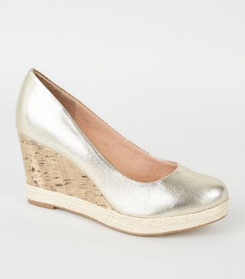 Gold Comfort Metallic Espadrille Trim Cork Wedges