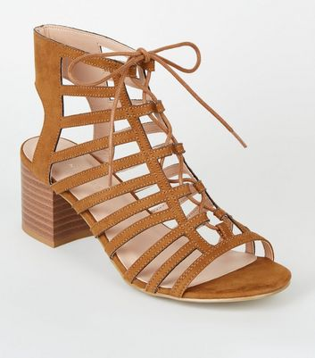 Wide Fit Tan Suedette Ghillie Lace Up Sandals