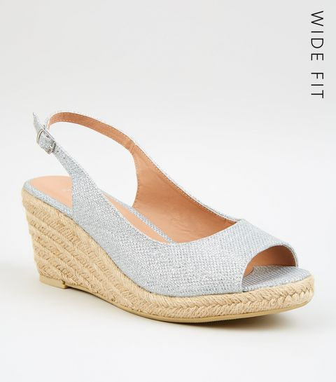 aa3cd6c5800cef ... Wide Fit Silver Glitter Espadrille Wedges ...