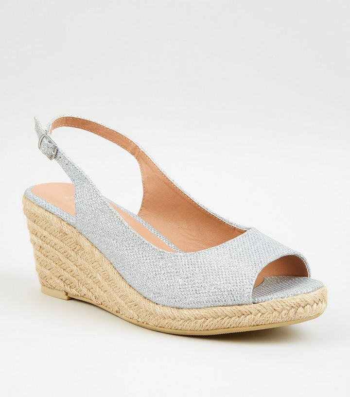 930a10d8829 Wide Fit Silver Glitter Espadrille Wedges