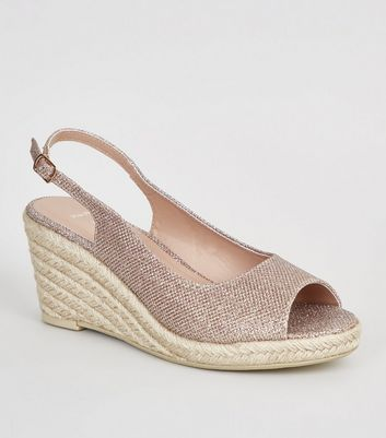 Wide Fit – Golden glitzernde Espadrilles mit Keilabsatz