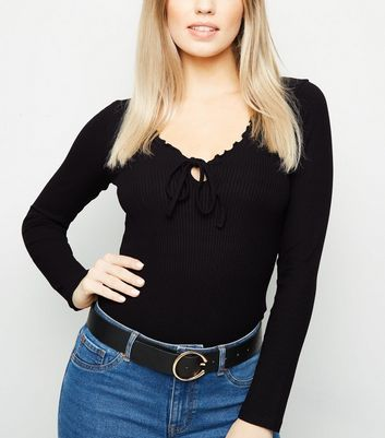 Black Long Sleeve Frill Milkmaid Bodysuit