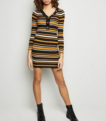 Tokyo Doll Orange Stripe Ribbed Mini Dress