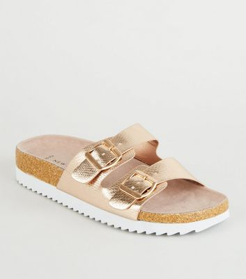 Wide Fit Rose Gold Faux Snake Footbed Sliders