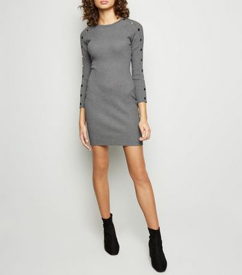 Tokyo Doll Grey Ribbed Popper Sleeve Bodycon Dress
