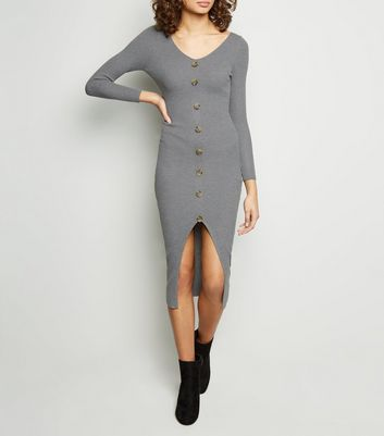 Tokyo Doll Grey Ribbed Button Front Bodycon Dress