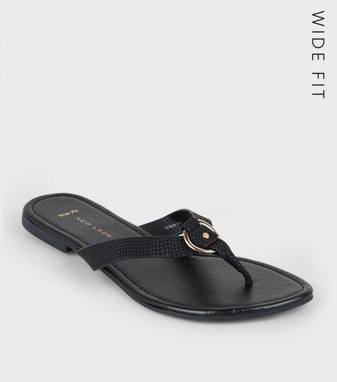 98bfca18b68d56 ... Wide Fit Black Faux Snake Ring Strap Flip Flops ...