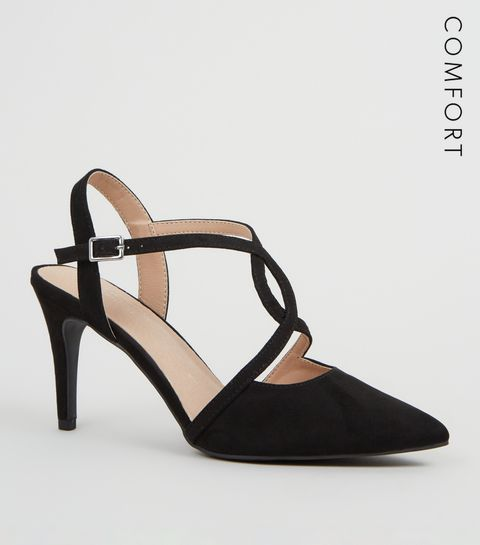 86184a4decf7 ... Black Comfort Flex Cross strap Stiletto Heels ...
