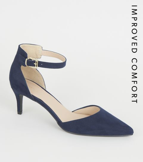 38cff25bfed ... Navy Suedette Pointed Ankle Strap Stiletto Heels ...