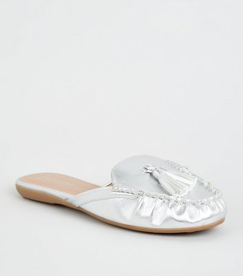 Wide Fit Silver Leather-Look Tassel Mule Loafers