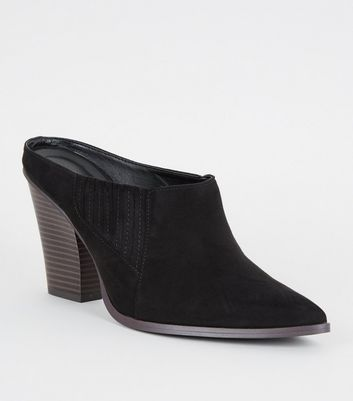 Black Suedette Western Pointed Mules