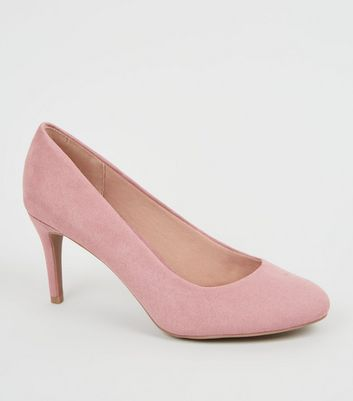 Pink Suedette Stiletto Court Shoes