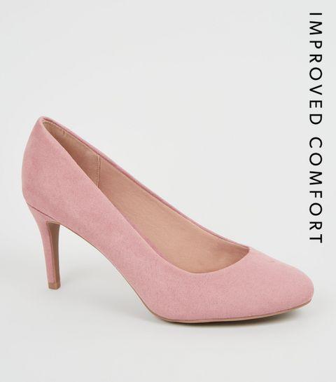 f10d59daa59 ... Pink Suedette Stiletto Court Shoes ...
