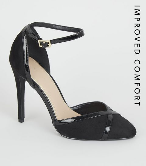 d3da0b6d3f0 ... Black Suedette Patent Trim Stiletto Courts ...