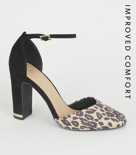 985666b8d43a ... Black Leopard Print Block Heel Courts ...