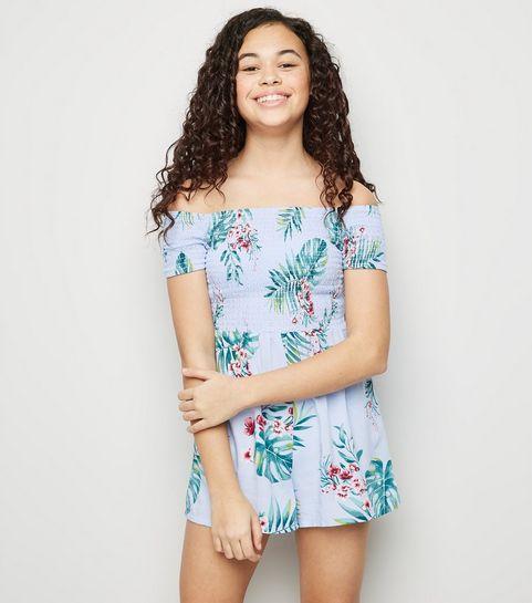 2bd580ca30a ... Girls Blue Tropical Print Bardot Playsuit ...