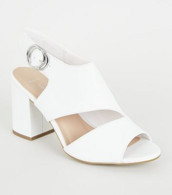 Wide Fit White Leather-Look Cut Out Block Heels