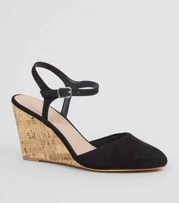 Black Suedette Cork Wedge Heels