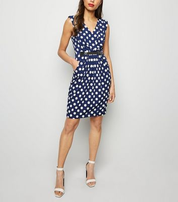 Mela Navy Polka Dot Belted Dress