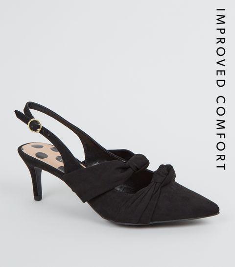 b7dbb81361b ... Black Suedette Bow Strap Slingback Heels ...