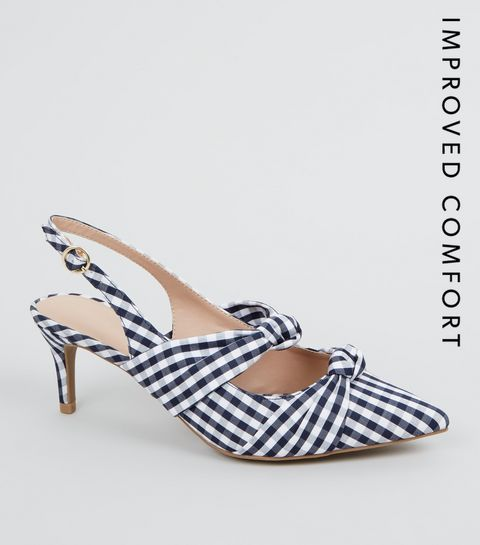 9048fcad066 ... Blue Check Print Bow Strap Slingback Heels ...