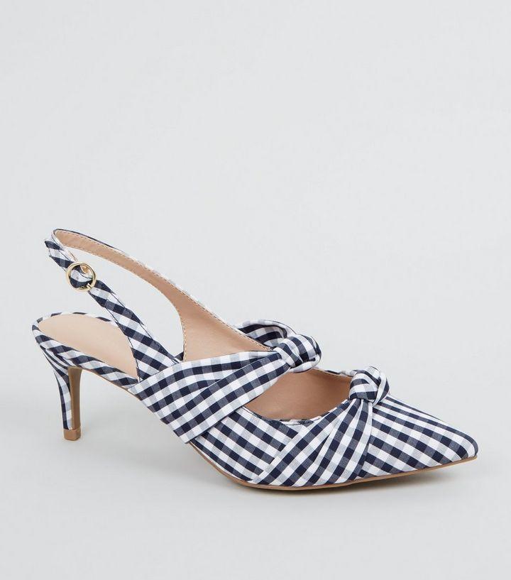 765e76d0e74 Blue Check Print Bow Strap Slingback Heels
