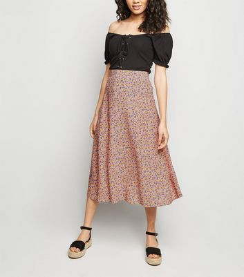 Petite Pink Ditsy Floral Midi Skirt