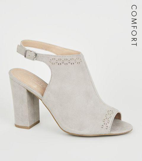 9af3df3ff70 ... Grey Comfort Flex Laser Cut Heels ...