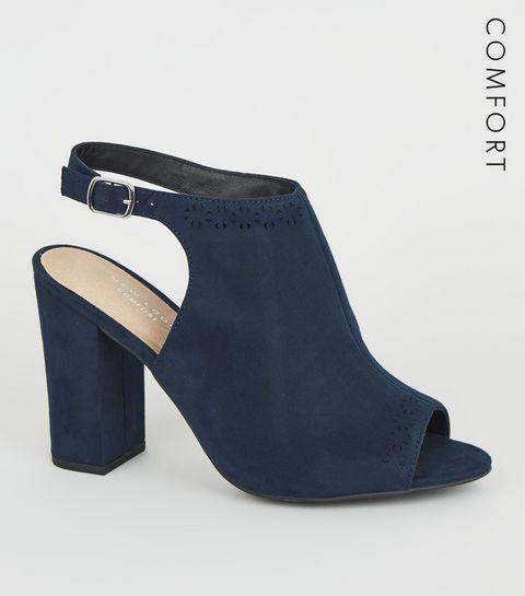 e4acb71b1bc1 ... Navy Comfort Flex Patterned Trim Heels ...