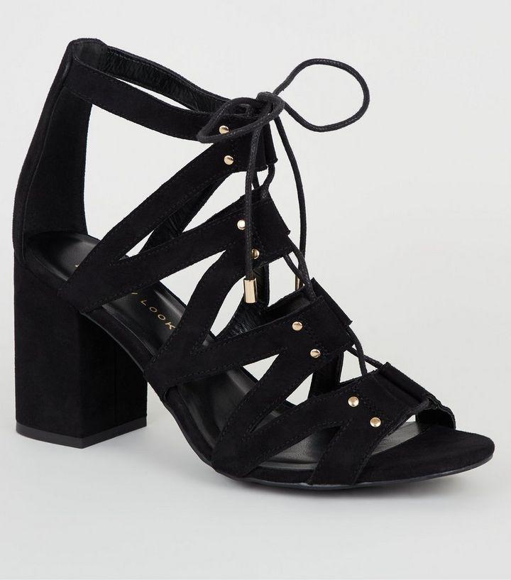 6c167d73d16f Wide Fit Black Suedette Lace-Up Ghillie Sandals